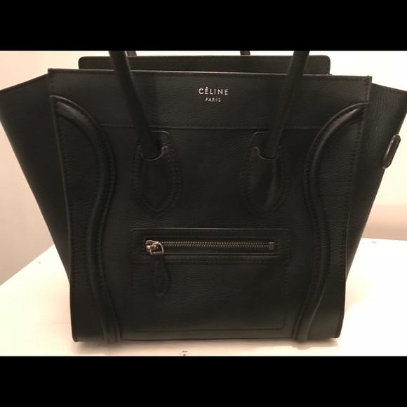 3268a0567bb1 Celine Handbags - CELINE Drummed Calfskin Micro Luggage Black